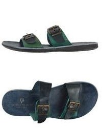 Sandalias de cuero verde oscuro