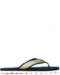Sandalias de dedo de cuero azul marino de Tommy Hilfiger