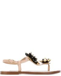 Sandalias de dedo de cuero con adornos en beige de Dolce & Gabbana