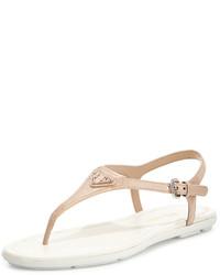 Sandalias de dedo de cuero en beige de Prada