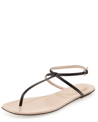 Sandalias de dedo de cuero en beige de Sergio Rossi