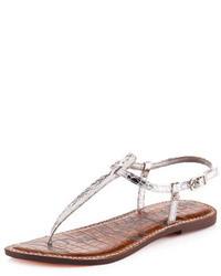 Sandalias de dedo de cuero estampadas grises