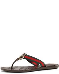 ... Sandalias de dedo de cuero marrónes de Gucci 9cc443224d5