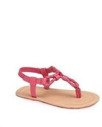 Sandalias de dedo de cuero rosa de Ralph Lauren