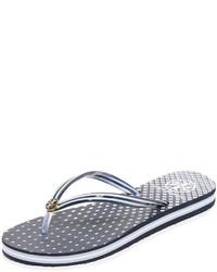 Sandalias de dedo de rayas horizontales azules de Tory Burch