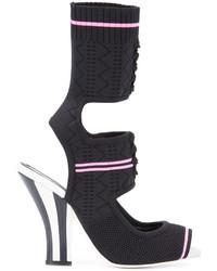 Sandalias de encaje de punto negras de Fendi