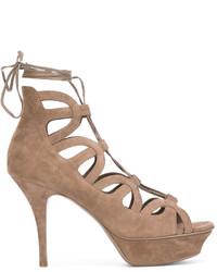 Sandalias de encaje marrón claro de Saint Laurent