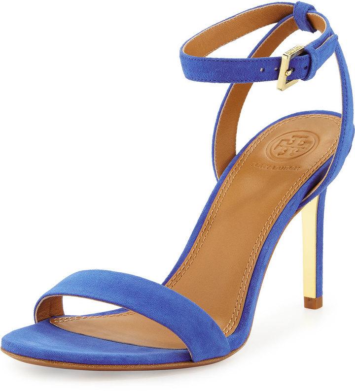 d838088bd640d ... Sandalias de tacón de ante azules de Tory Burch ...
