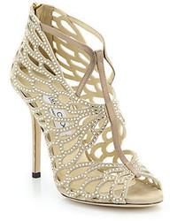 Sandalias de tacón de ante con adornos en beige