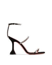 Sandalias de tacón de ante con adornos negras de Amina Muaddi