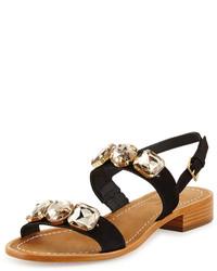 Sandalias de tacón de ante con adornos negras de Kate Spade