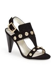 Sandalias de tacón de ante con tachuelas negras