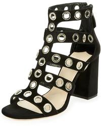 Sandalias de tacón de ante con tachuelas negras de Prada