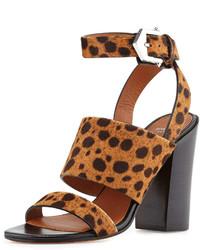 Sandalias de Tacón de Ante de Leopardo Marrónes de Givenchy