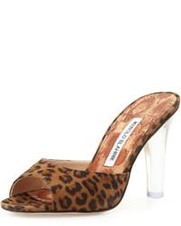 Sandalias de tacón de ante de leopardo marrónes de Manolo Blahnik