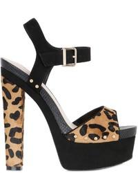 Sandalias de tacón de ante de leopardo marrónes