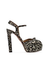 Sandalias de tacón de ante en negro y dorado de Aquazzura