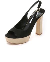 Sandalias de Tacón de Ante Gruesas Negras de Diane von Furstenberg