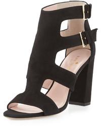 Sandalias de tacón de ante gruesas negras de Kate Spade