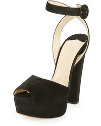 Sandalias de Tacón de Ante Gruesas Negras de Prada