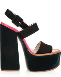 Sandalias de Tacón de Ante Gruesas Negras de Victoria Beckham