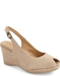 Sandalias de tacón de ante marrón claro de Tamaris
