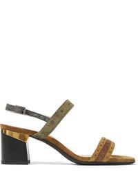 Sandalias de Tacón de Ante Marrónes de Lanvin