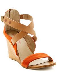 Sandalias de Tacón de Ante Naranjas de Kenneth Cole