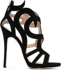 Sandalias de Tacón de Ante Negras de Giuseppe Zanotti Design