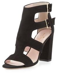Sandalias de tacón de ante negras de Kate Spade