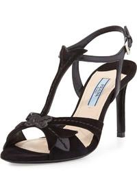 Sandalias de tacón de ante negras de Prada