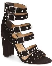 Sandalias de tacón de ante negras de Sam Edelman