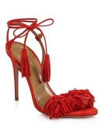 Sandalias de tacón de ante сon flecos rojas