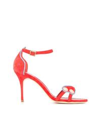 Sandalias de tacón de ante rojas de Manolo Blahnik