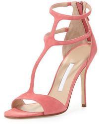 Sandalias de tacón de ante rosadas