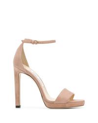 Sandalias de tacón de ante rosadas de Jimmy Choo
