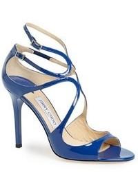 Sandalias de Tacón de Cuero Azules de Jimmy Choo