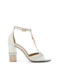 Sandalias de tacón de cuero blancas de Chloé