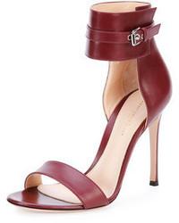 Sandalias de tacón de cuero burdeos