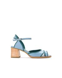 Sandalias de tacón de cuero celestes de Sarah Chofakian