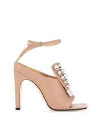 Sandalias de tacón de cuero con adornos rosadas de Sergio Rossi