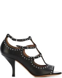 Sandalias de tacón de cuero con tachuelas negras de Givenchy