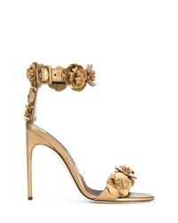 Sandalias de tacón de cuero doradas de Brian Atwood