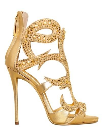 d2b851434e2 ... Sandalias de tacón de cuero doradas de Giuseppe Zanotti Design ...