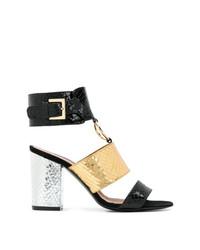 Sandalias de tacón de cuero doradas de Via Roma 15