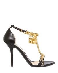 Sandalias de tacón de cuero en negro y dorado de Moschino