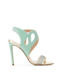 Sandalias de tacón de cuero en verde menta de Benedetta Boroli