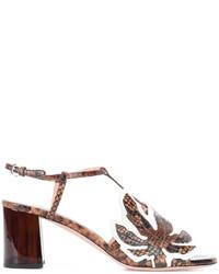 Sandalias de tacón de cuero gruesas marrónes de Rochas