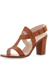 Sandalias de tacón de cuero gruesas marrónes de Sergio Rossi