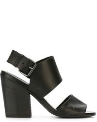 Sandalias de tacón de cuero gruesas negras de Marsèll